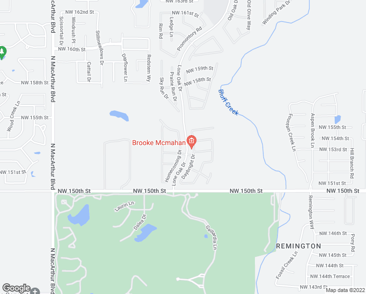 map of restaurants, bars, coffee shops, grocery stores, and more near 15404 Homecoming Drive in Edmond