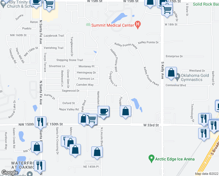 map of restaurants, bars, coffee shops, grocery stores, and more near 2716 Sunflower Drive in Edmond