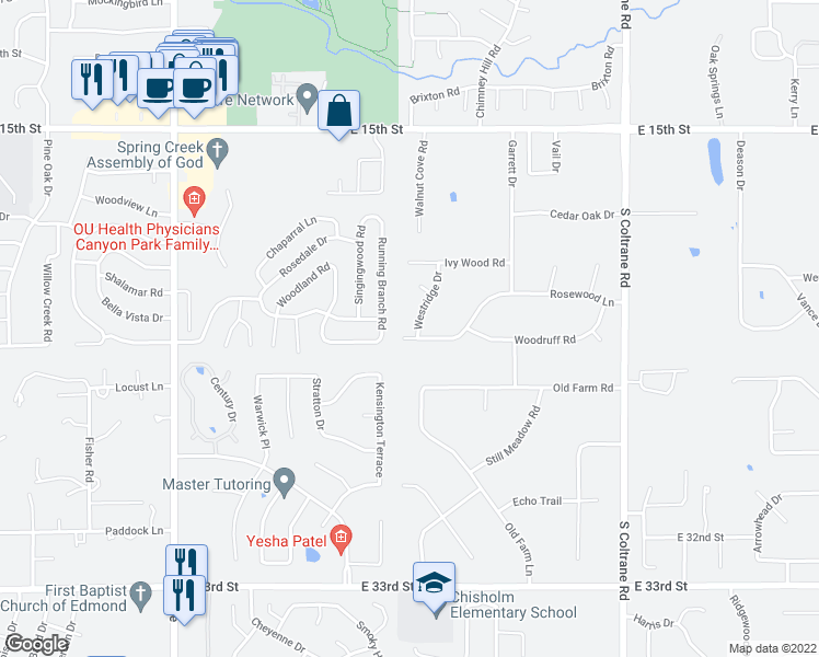 map of restaurants, bars, coffee shops, grocery stores, and more near 2101 Westridge Drive in Edmond