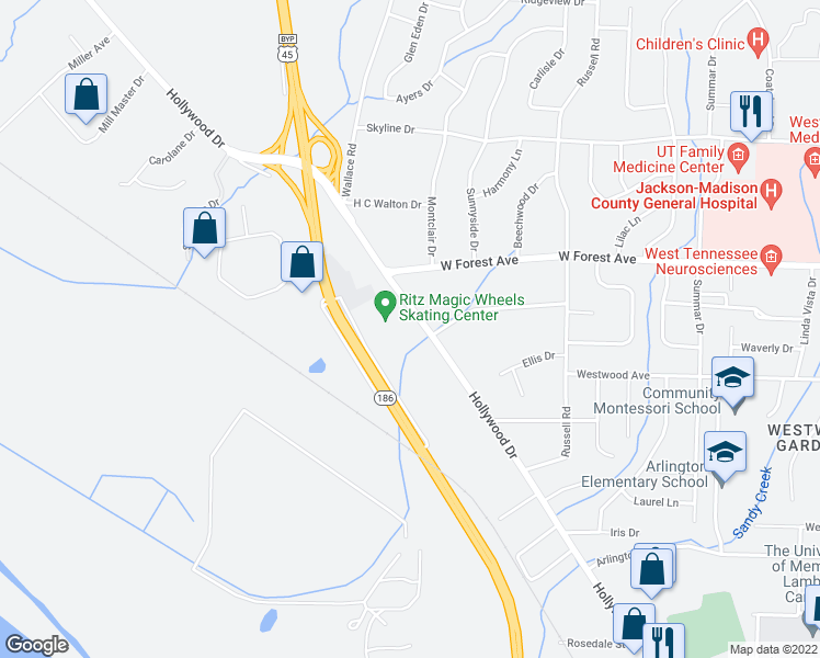 map of restaurants, bars, coffee shops, grocery stores, and more near 1336 Hollywood Drive in Jackson