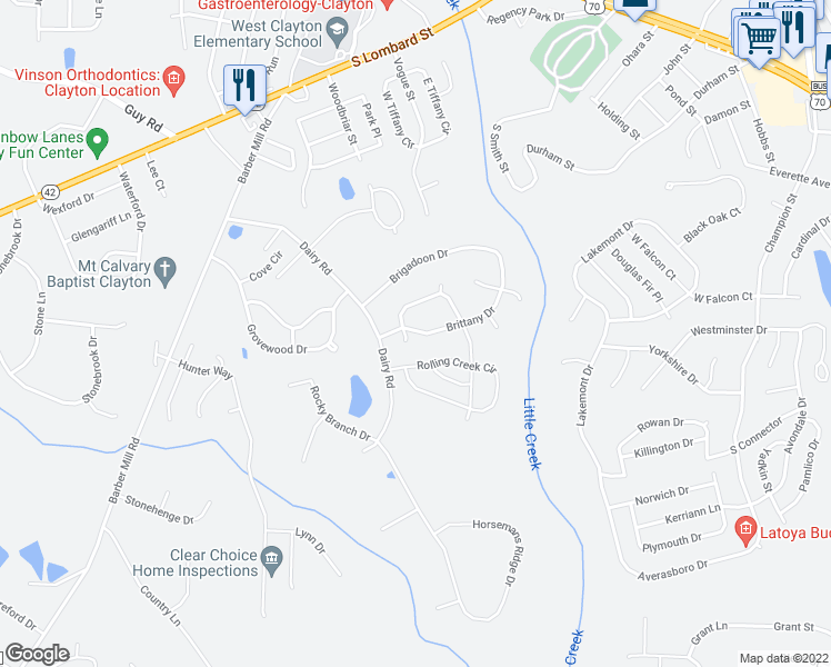 map of restaurants, bars, coffee shops, grocery stores, and more near 2804 Brittany Drive in Clayton