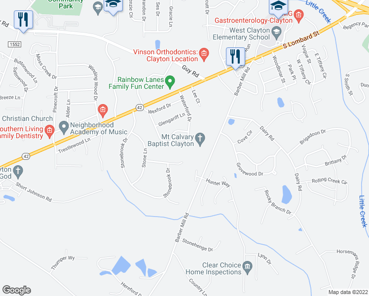 map of restaurants, bars, coffee shops, grocery stores, and more near 109 Kildare Court in Clayton
