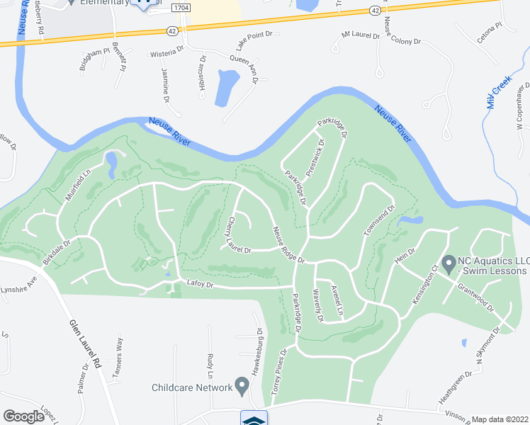 map of restaurants, bars, coffee shops, grocery stores, and more near 407 Neuse Ridge Drive in Clayton