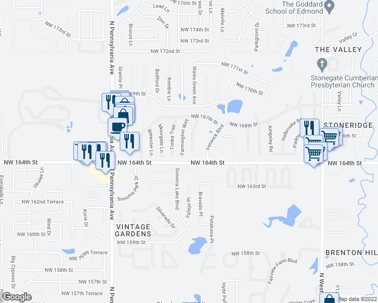 map of restaurants, bars, coffee shops, grocery stores, and more near 16509 Covington Manor in Edmond