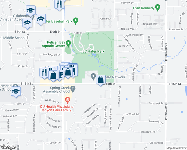 map of restaurants, bars, coffee shops, grocery stores, and more near 1330 Hunters Ridge Road in Edmond
