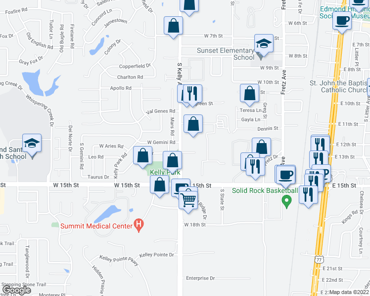 map of restaurants, bars, coffee shops, grocery stores, and more near 1224 South Kelly Avenue in Edmond