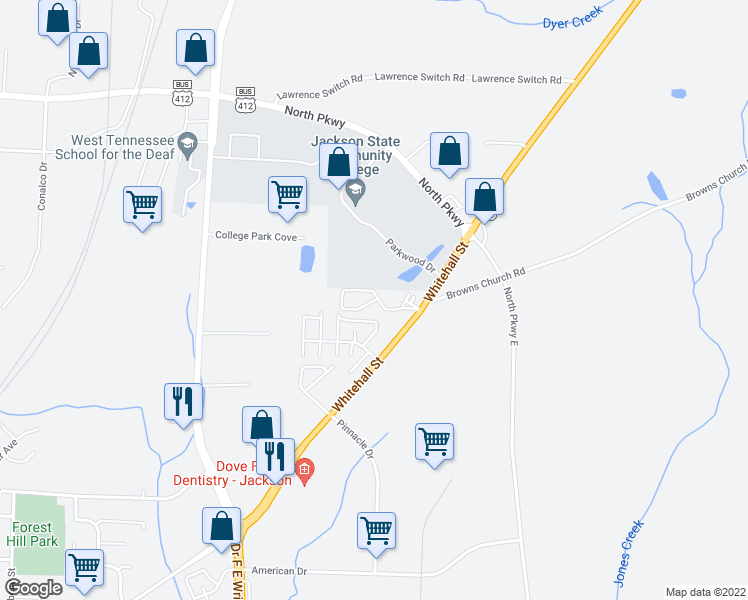 map of restaurants, bars, coffee shops, grocery stores, and more near 100 Parkwood Trace in Jackson