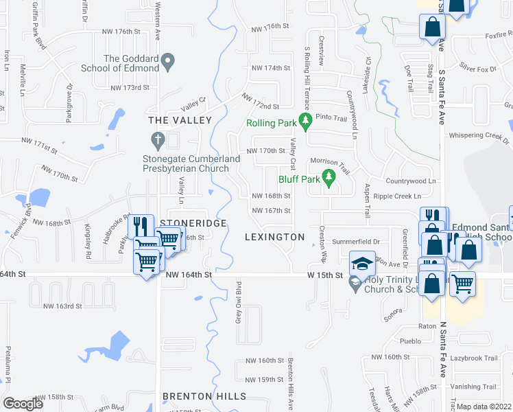 map of restaurants, bars, coffee shops, grocery stores, and more near 613 Northwest 167th Street in Edmond