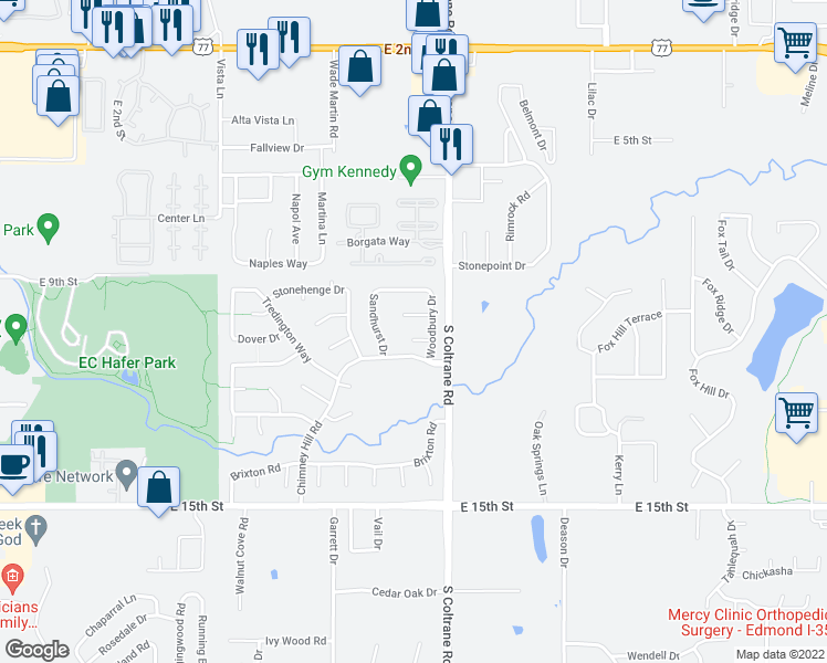 map of restaurants, bars, coffee shops, grocery stores, and more near 2709 Kenwood Court in Edmond