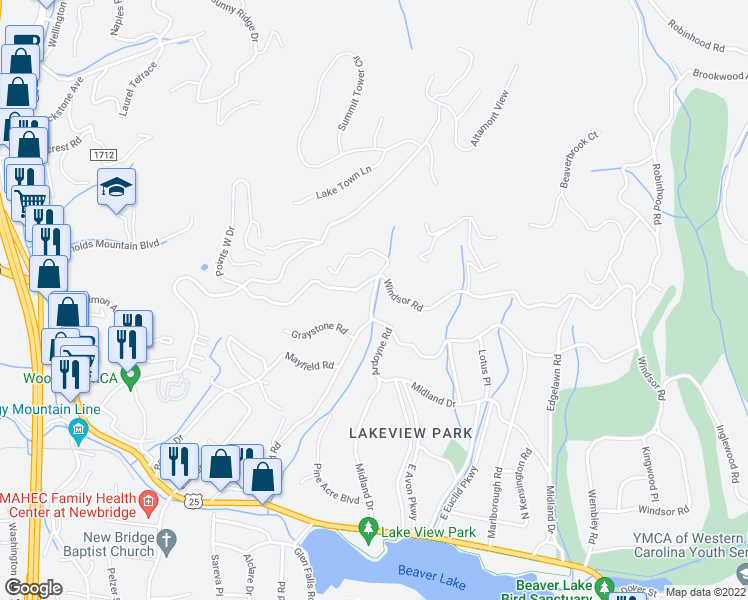 map of restaurants, bars, coffee shops, grocery stores, and more near 2 Elmwood Place in Asheville