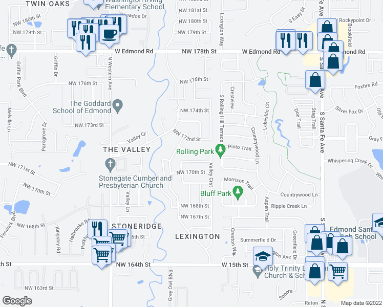 map of restaurants, bars, coffee shops, grocery stores, and more near 528 Northwest 172nd Place in Edmond