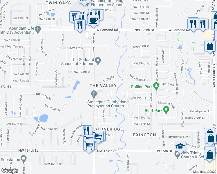 map of restaurants, bars, coffee shops, grocery stores, and more near 1000 Northwest 172nd Street in Edmond