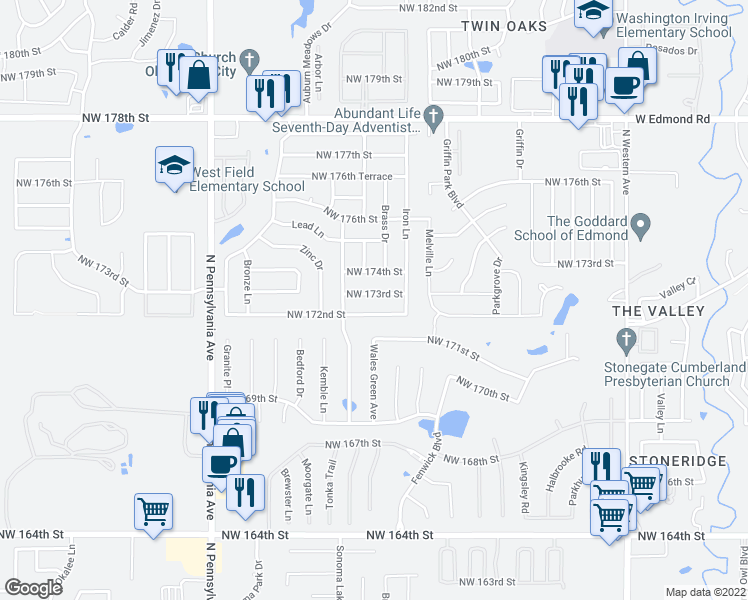 map of restaurants, bars, coffee shops, grocery stores, and more near 1720 Northwest 173rd Street in Edmond