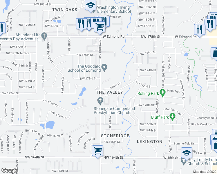 map of restaurants, bars, coffee shops, grocery stores, and more near 1011 Valley Court in Edmond