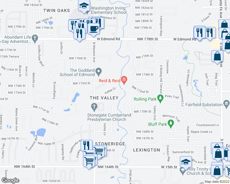 map of restaurants, bars, coffee shops, grocery stores, and more near 901 Northwest 172nd Street in Edmond