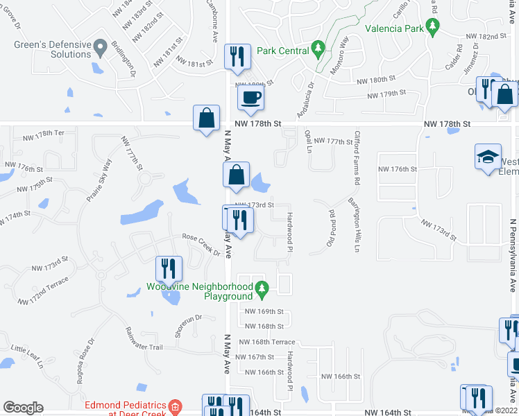 map of restaurants, bars, coffee shops, grocery stores, and more near 17328 Ridgewood Drive in Edmond
