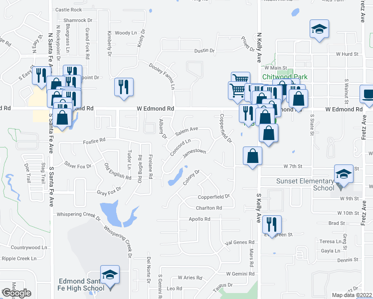 map of restaurants, bars, coffee shops, grocery stores, and more near 1325 Jamestown in Edmond