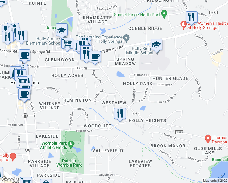 map of restaurants, bars, coffee shops, grocery stores, and more near 100 Holly Mountain Road in Holly Springs