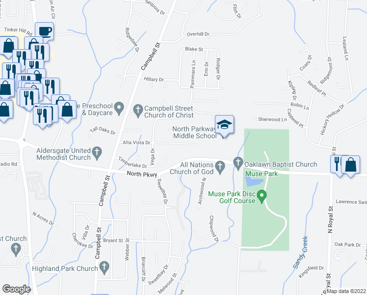 map of restaurants, bars, coffee shops, grocery stores, and more near 124 Alta Vista Drive in Jackson