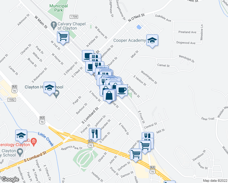 map of restaurants, bars, coffee shops, grocery stores, and more near in Clayton