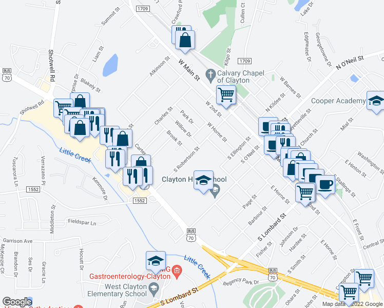map of restaurants, bars, coffee shops, grocery stores, and more near 416 Brook Street in Clayton