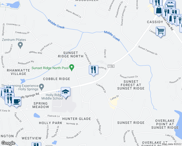 map of restaurants, bars, coffee shops, grocery stores, and more near 113 Fountain Ridge Place in Holly Springs