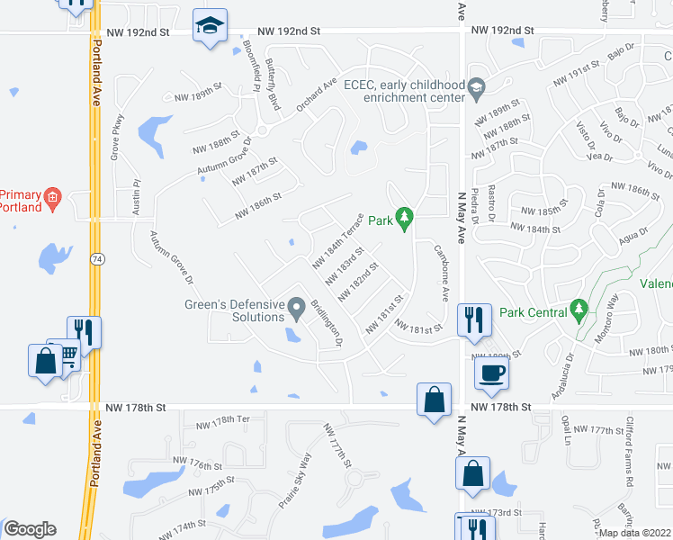 map of restaurants, bars, coffee shops, grocery stores, and more near 3005 Northwest 183rd Street in Edmond
