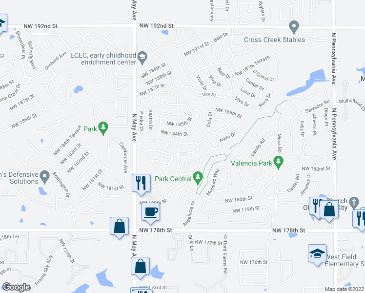 map of restaurants, bars, coffee shops, grocery stores, and more near 18404 Abierto Drive in Edmond