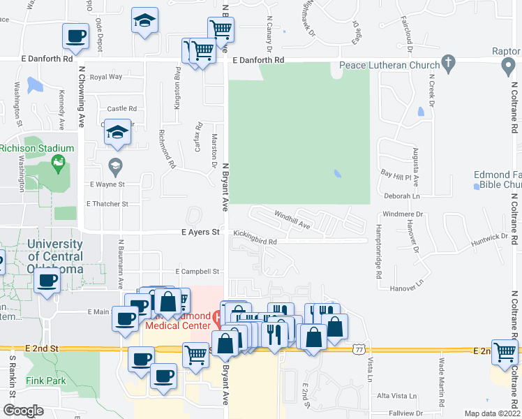 map of restaurants, bars, coffee shops, grocery stores, and more near 1614 Windhill Avenue in Edmond