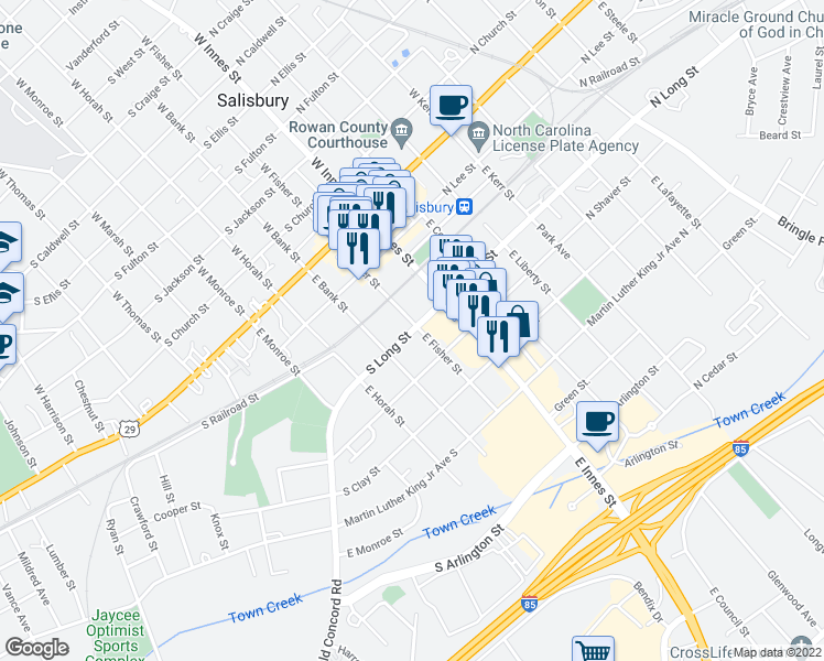 map of restaurants, bars, coffee shops, grocery stores, and more near 127 South Long Street in Salisbury