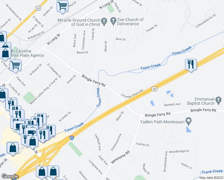 map of restaurants, bars, coffee shops, grocery stores, and more near 1229 Bringle Ferry Road in Salisbury