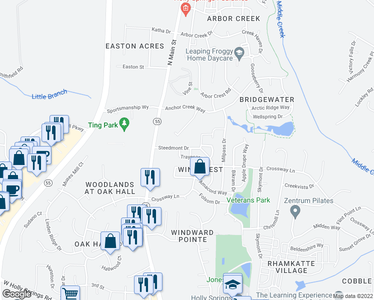 map of restaurants, bars, coffee shops, grocery stores, and more near 204 Steedmont Drive in Holly Springs