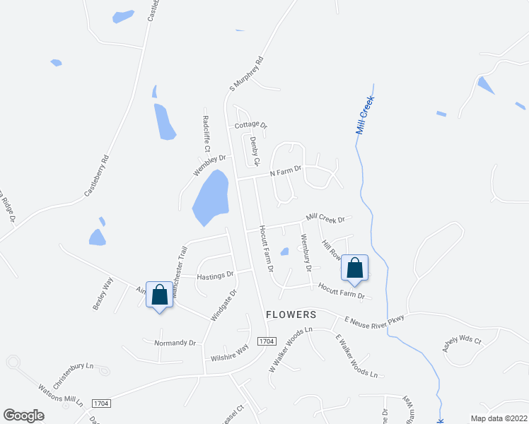 map of restaurants, bars, coffee shops, grocery stores, and more near 128 Hocutt Farm Drive in Clayton