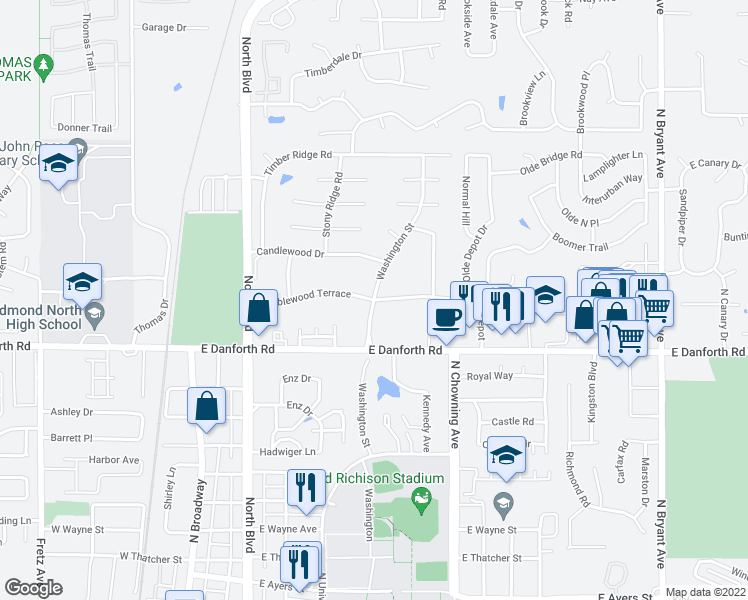 map of restaurants, bars, coffee shops, grocery stores, and more near Washington Street in Edmond