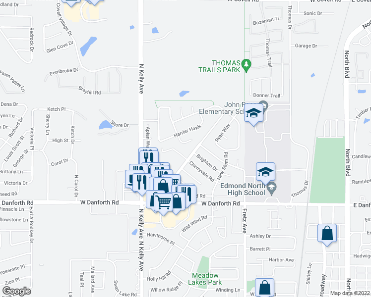 map of restaurants, bars, coffee shops, grocery stores, and more near 1619 Redtail Hawk in Edmond