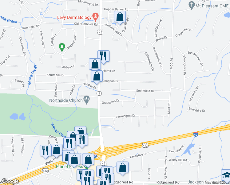 map of restaurants, bars, coffee shops, grocery stores, and more near 54 Smithfield Drive in Jackson