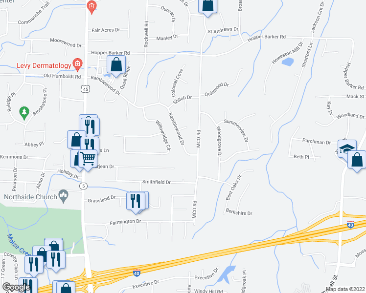 map of restaurants, bars, coffee shops, grocery stores, and more near 274 Ramblewood Drive in Jackson