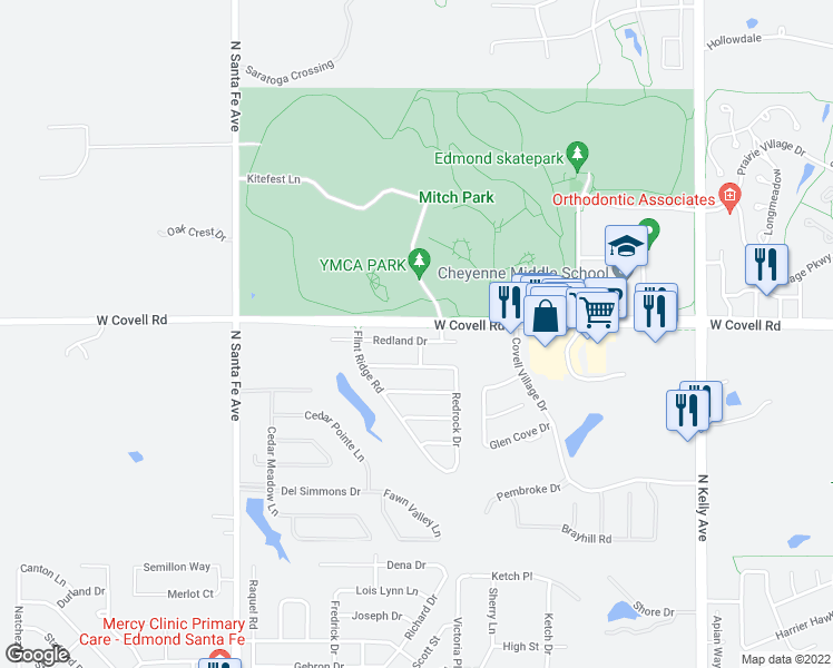 map of restaurants, bars, coffee shops, grocery stores, and more near 1725 Redland Drive in Edmond