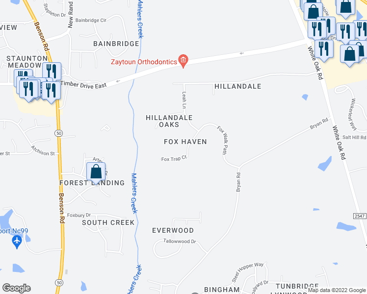 map of restaurants, bars, coffee shops, grocery stores, and more near 316 Fox Walk Path in Garner