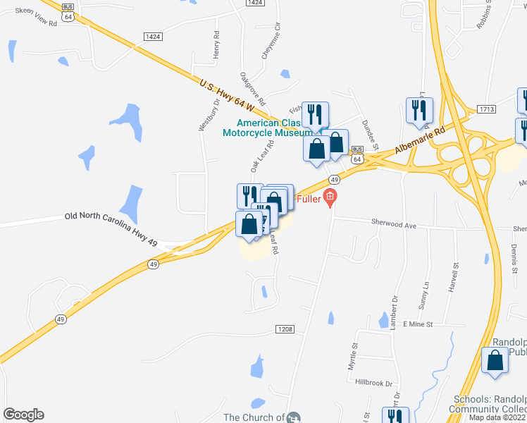 map of restaurants, bars, coffee shops, grocery stores, and more near 357-399 North Carolina 49 in Asheboro