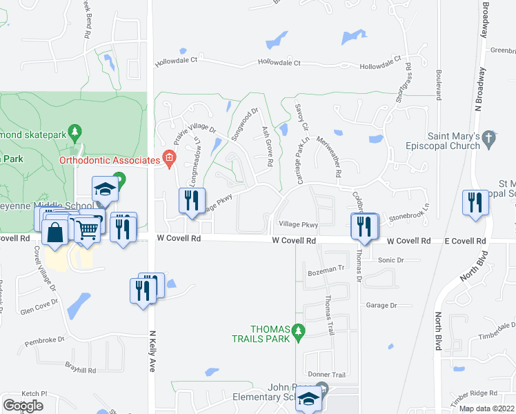 map of restaurants, bars, coffee shops, grocery stores, and more near 2801 Shortgrass Road in Edmond