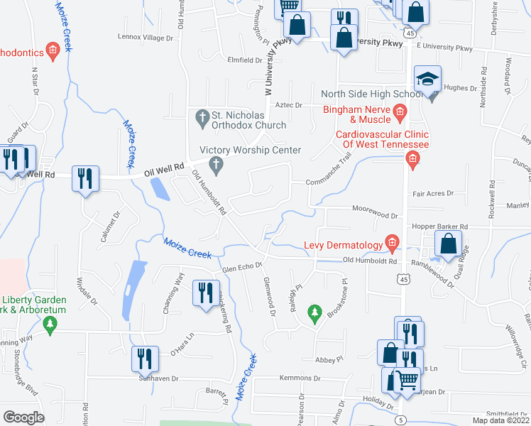 map of restaurants, bars, coffee shops, grocery stores, and more near 56 Chapel Creek Drive in Jackson