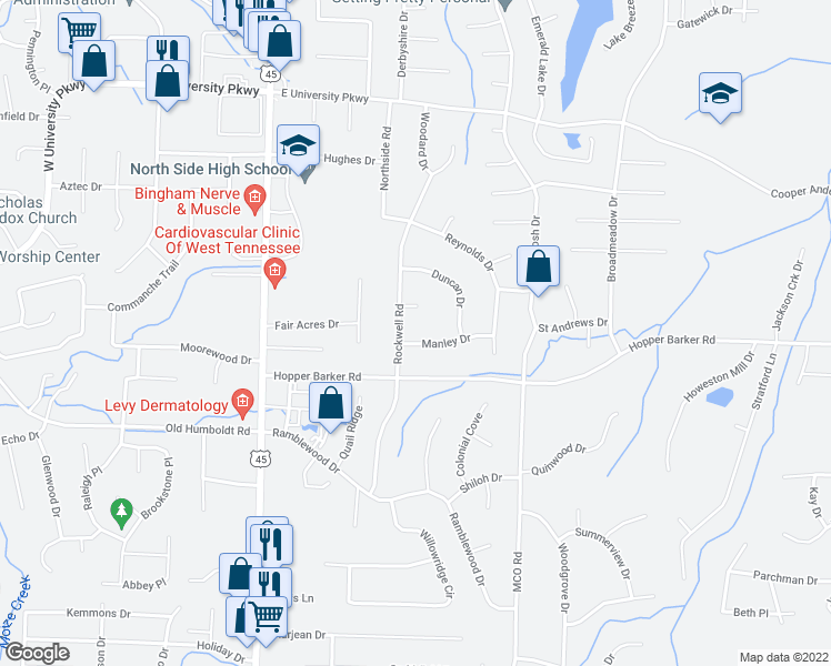 map of restaurants, bars, coffee shops, grocery stores, and more near 15 Manley Drive in Jackson