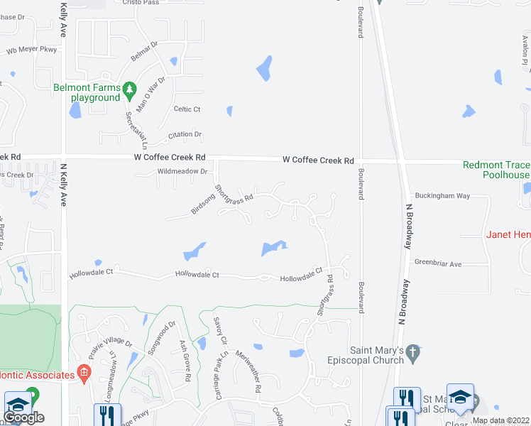 map of restaurants, bars, coffee shops, grocery stores, and more near 3821 Woodshadow Road in Edmond