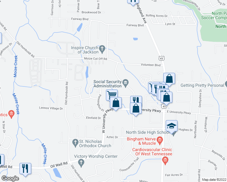 map of restaurants, bars, coffee shops, grocery stores, and more near 100 Trace Drive in Jackson
