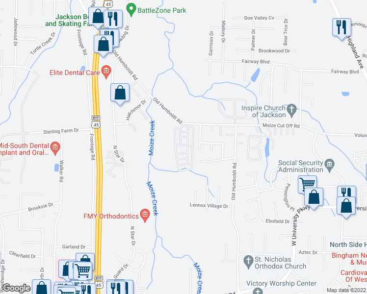 map of restaurants, bars, coffee shops, grocery stores, and more near 26 Rachel Drive in Jackson