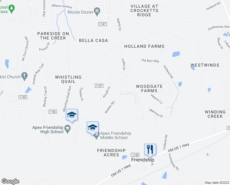 map of restaurants, bars, coffee shops, grocery stores, and more near 2505 Terrmini Drive in Apex