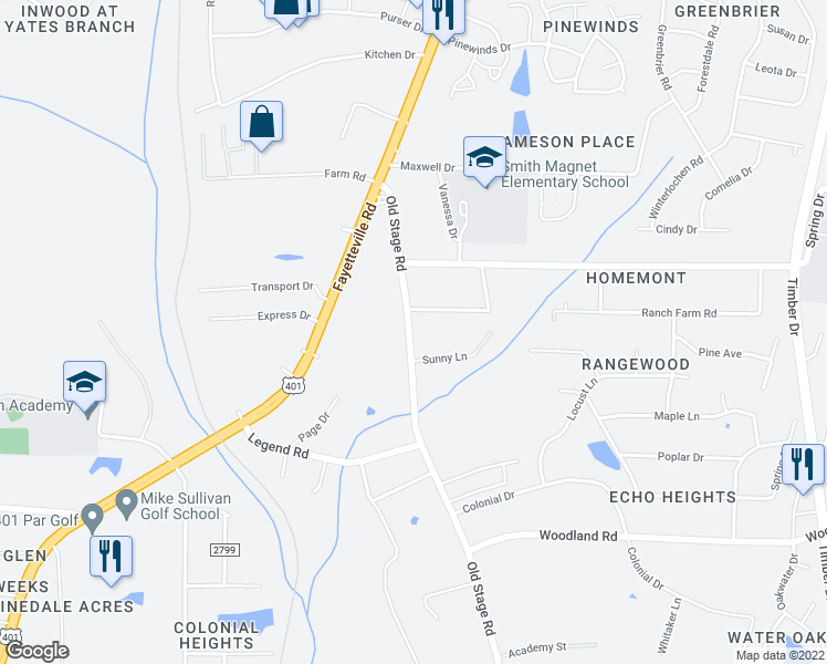 map of restaurants, bars, coffee shops, grocery stores, and more near 5200 Old Stage Road in Raleigh