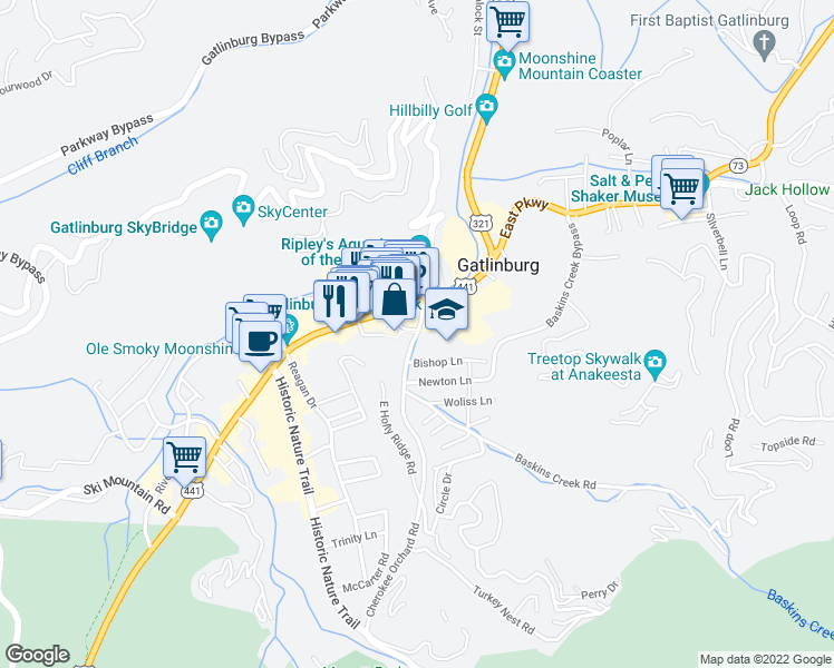 map of restaurants, bars, coffee shops, grocery stores, and more near 204 Cherokee Orchard Road in Gatlinburg