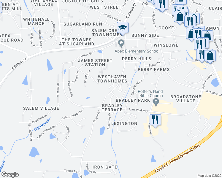 map of restaurants, bars, coffee shops, grocery stores, and more near 311 Port Haven Drive in Apex